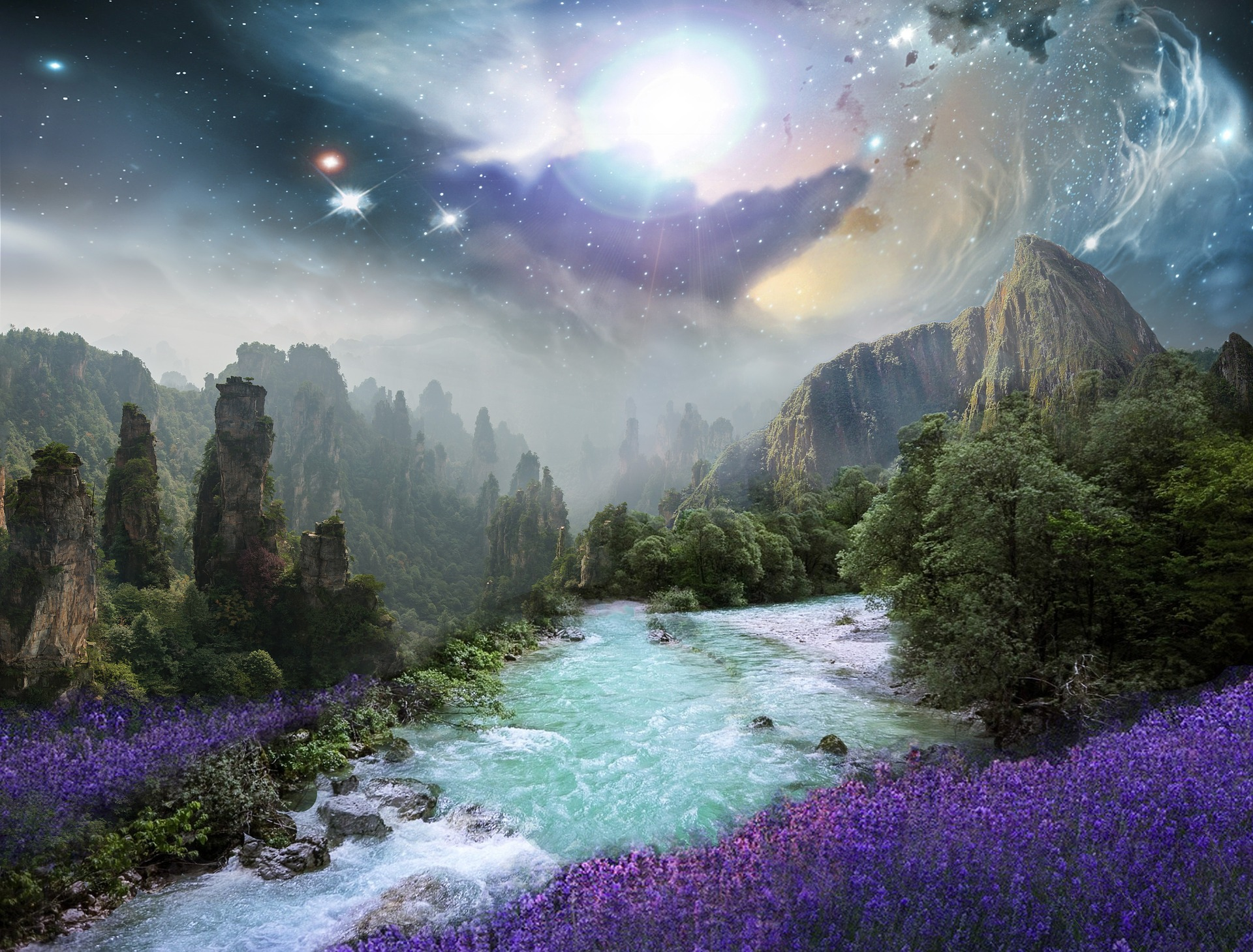 Fantasy landscape with river, flowers meadow, treens, nebula, and universe